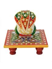 Lord Ganesha On Peocock Marble Chowki - ECraftIndia