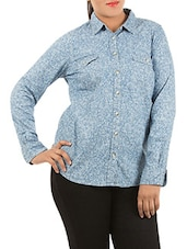 Blue Printed Full Sleeve Denim Shirt - LastInch