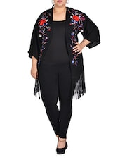 Embroidered Black Shrug With Tassels - LastInch