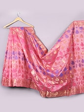 Pink Satin Silk Saree - WEAVING ROOTS