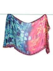 Blue & Red Geometric Print Georgette Saree - Saraswati