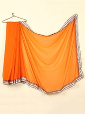 Plain Orange Saree With Gota Border - ABHIRUPA