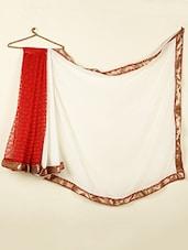 White & Red Lace Georgette Saree With Gota Border - ABHIRUPA