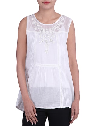 WHITE color cotton Top