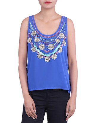 BLUE,BLACK viscose Top