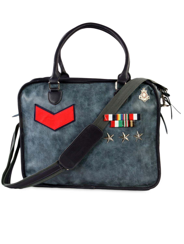 Greyish Blue Faux Leather Laptop Bag - HARP