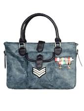 Greyish Blue Faux Leather Oversized Bag - HARP