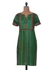 Short Sleeved Green Casual Printed Kurta - Tissu