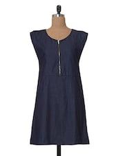 Blue Round Neck Zipper Detail Tunic - Tissu