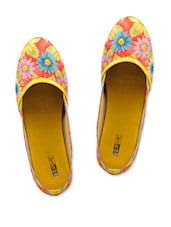 Floral Printed Synthetic Spring Yellow Bellies - Yepme