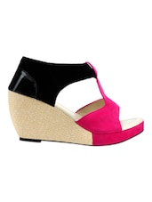 Velvet Pink & Black Color Block Open Toe Wedges - Yepme
