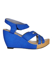 Leatherette Blue Strap Wedges With Velcro Closure - Yepme