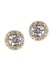 Golden Circular Alloy Studded Earring - Bg's
