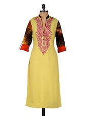 Yellow & Multicolored Embroidered Button-up Sleeves Kurta - GREEN EMERALD