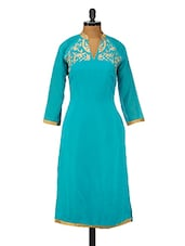 Sky-Blue Poly Georgette Embroidered Kurta - GREEN EMERALD