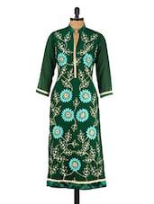 Dark Green Floral Embroidered Poly Georgette Kurta - GREEN EMERALD