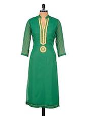 Green Zari Embroidered & Beaded Poly Georgette Kurta - GREEN EMERALD