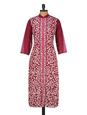 Maroon Heavily Embroidered Poly Georgette Kurta - GREEN EMERALD