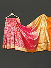 Multi Color Floral Zari Work Satan Silk Saree - WEAVING ROOTS