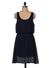 Black Sleeveless Poly Georgette Dress - Feyona