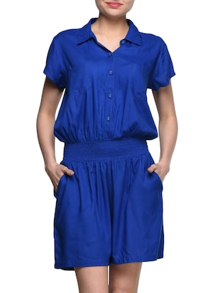 Blue Rayon Romper