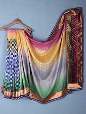 Ombre Effect Brocade Work Gota Border Artificial Silk Saree - Vastrang