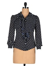 Blue Polka Dot Ruffle Top - CHERYMOYA