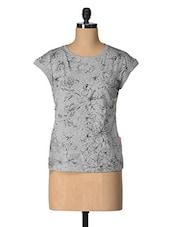 Grey Floral Print Top - Tops And Tunics
