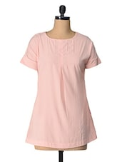 Beige Solid Polyester Top - Tops And Tunics