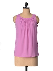 Pink Solid Polyester Top - Tops And Tunics
