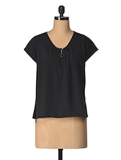 Black Solid Polyester Top - Tops And Tunics