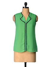Green Solid Polyester Top With Black Piping - Tops And Tunics
