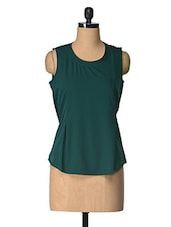 Green Solid Polyester Top - Tops And Tunics