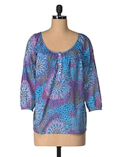 Blue Printed Cotton Top - Tops And Tunics