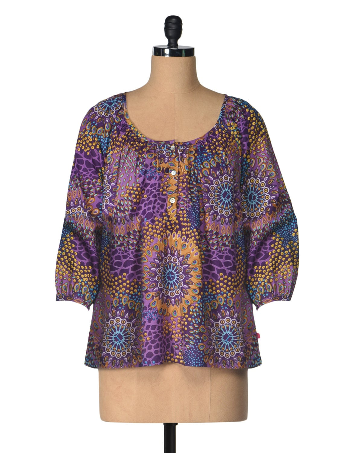 Multicoloured Printed Cotton Top - Tops And Tunics