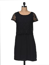 Black Lace Polyester Dress - I AM FOR YOU