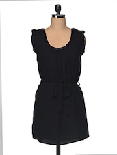 Black Beaded Cotton Dress - I AM FOR YOU