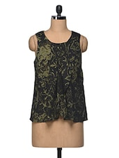 Green & Black Printed Polyester Top - I AM FOR YOU