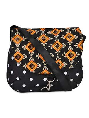 Multi-Print Black Sling Bag