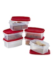 Red Plastic Air Tight Container Set Of 6 - Prime Housewares
