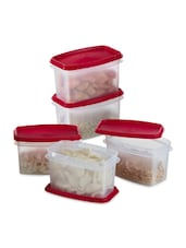 Red Plastic Air Tight Container Set Of 5 - Prime Housewares