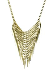Contemporary Metal Alloy Golden Necklace - Supriya