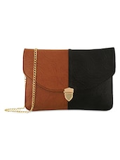 Black And Brown Leatherette Sling Bag - By
