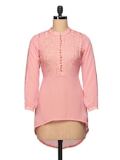 Embroidered Mandarin Collar Georgette Top - BLUEBERY D C