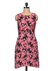Floral Print Sleeveless Round Neck Dress - BLUEBERY D C