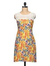 Floral Print Lace Yoke Sleeveless Georgette Dress - BLUEBERY D C