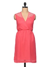 Overlap Neck Plain Coral Chiffon Dress With Elastic Waist - BLUEBERY D C