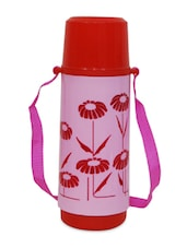 Pink  Insulated Red Flowers On Pink Printed Vacuum Flask - Stand Max