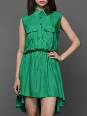 High Low Shirt Collar Dress - Klick2Style
