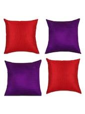 Red And Purple Silk Cushion Covers(Set Of 4) - SEJ By Nisha Gupta